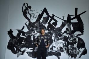 """Kara Walker in Front of Her Work """"Rift of the Medusa"""" 2017"""