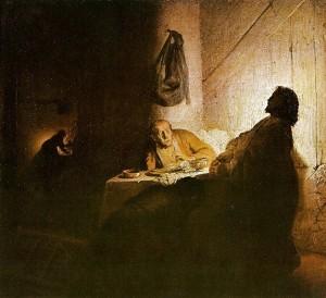 """""""Supper at Emmaus"""" © 1628 Rembrandt van Rijn"""