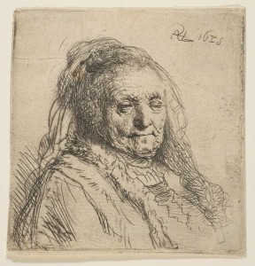 """The Artists Mother: Head and Bust, Three-Quarters Right"" © 1638 Rembrandt van Rijn"