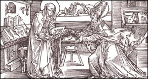 A nun presenting her own created book to her bishop, 1355.