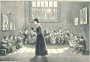 A young teacher instructs her students, circa 1860.
