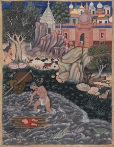 """""""Iskandar Finds the Infant Darab in the Water,"""" Indian, Mughal Period, About 1562"""