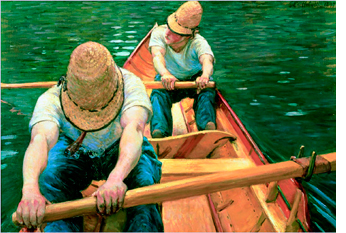 """""""Oarsmen Rowing on the Yerres"""" © 1877 Gustave Caillebotte"""