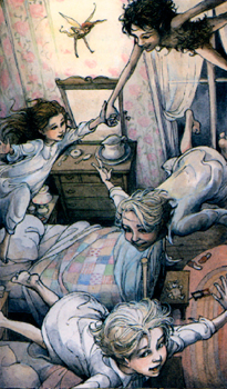 """Illustration from """"Peter Pan"""" by Trina Schart Hyman. Book by J.M. Barrie."""