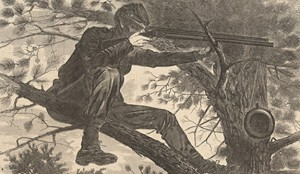 """""""The Army of the Potomac–A Sharpshooter on Picket Duty"""" Winslow Homer (1862)"""