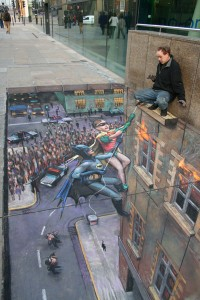 """""""Batman and Robin to the Rescue"""" © Julian Beever"""